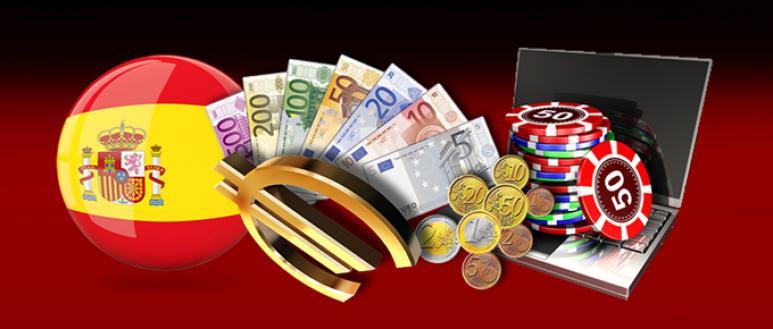 dinero, ordenador, bandera de España